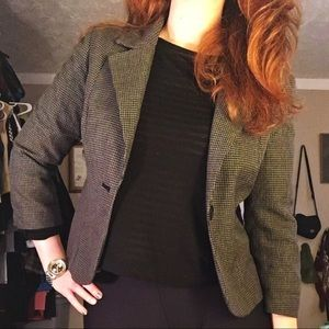 H&M Blazer Three Quarter Sleeve Plaid